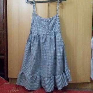 Korean checkered jumper dress