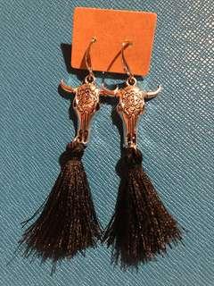 Silver cow black tassel earrings