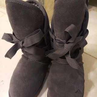 正牌polo 灰 時尚真皮雪靴