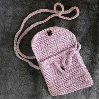 粉紫手工編織小包
