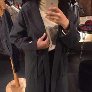 長版灰藍色外套