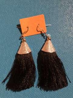 Boho black tassel earrings