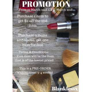PROMOTION!! (From 22 March to 31 March 2018)