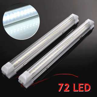 2pcs 12V 72 LED Car Strip Lights Interior White Bar Lamp Van Caravan Decoration