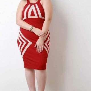 💋Geometric Print Plus Size Dress