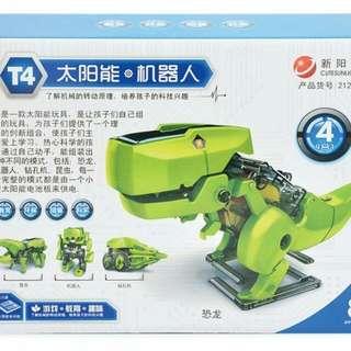 太陽能4合一恐龍機器人 鑽孔機 昆蟲 環保 益智 拼插積木 拼裝積木 益智玩具系列