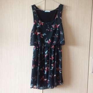 Bershka Butterfly Navy Dress