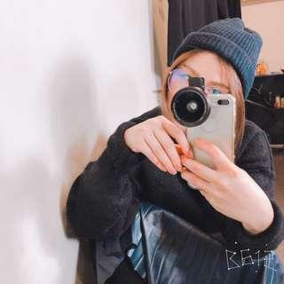正韓黑色文青針織毛線帽