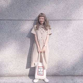 From:mi購入~幸運餅乾卡其色洋裝🍪