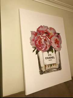 Chanel flower Canvas Print Framed stretch (ready to hang )