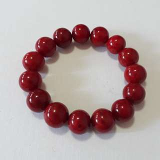 Very nice. AAA grade Red Coral bracelet. Size 14mm beads x 15 bead. For Sale at just SG$278