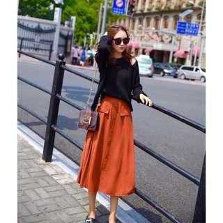 《韓版時尚2件套》氣質顯瘦針織毛衣+長裙