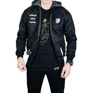 jaket boomber hoodie the bojiel 2in1 hitam-abu