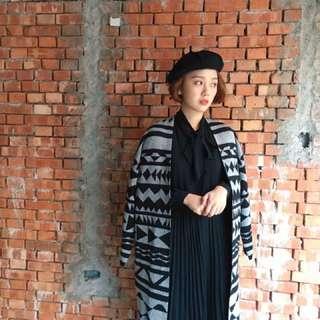[全新轉賣]京都的小日式菱格花紋細針織長版外罩  女孩別哭 Majorie Pazzo MeierQ Nude