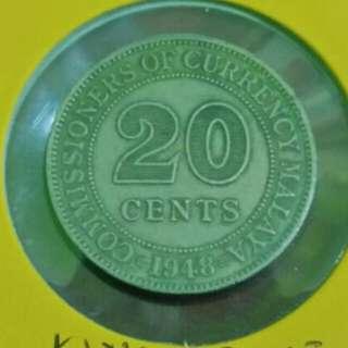 20 Cents Malaya 1948