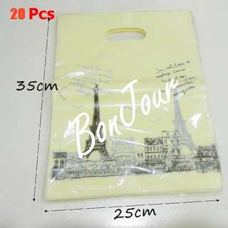 20 Pcs Plastic Carriers Bags Sellzabo Paris Tower Yellow Colour Stationery Stationeries