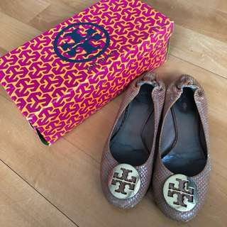 Tory Burch平底鞋 US7/37 拖肥色蛇皮