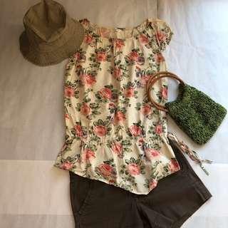 🚚 玫瑰花園🌹長版浪漫抽摺包袖上衣