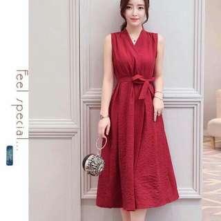 Pleated waist dress