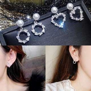 韓國現貨925銀小清新珍珠鑲鋯石耳環