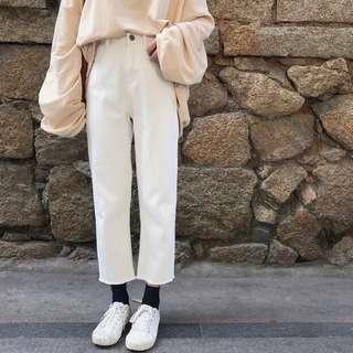 (全新)白色高腰抽虛牛仔褲