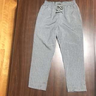 Pazzo白細條紋灰色鬆緊老爺褲
