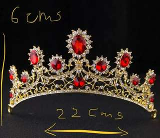Brand New in stock Tiara/Crown in Red Rhinestones and Alloy