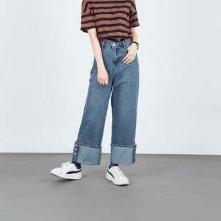 褲管排扣設計丹寧寬褲