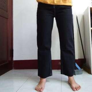 寬褲 bf學生寬鬆撕邊高腰百搭軟妹闊腿牛仔褲顯瘦九分褲 丹寧牛仔褲