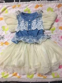 Soft denim + Lace dress