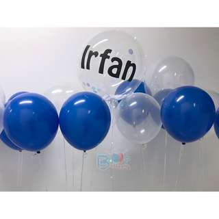 Personalised Transparent 18'' Led Balloon + Latex Helium Balloon