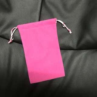 全新粉紅絨面手機/雜物袋