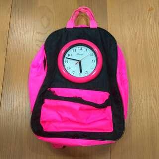 二手 Bagmax 90年代 時鐘 後背包 螢光粉紅色
