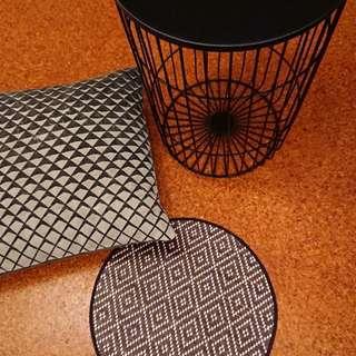 Target Metal Table + pillow & placemat