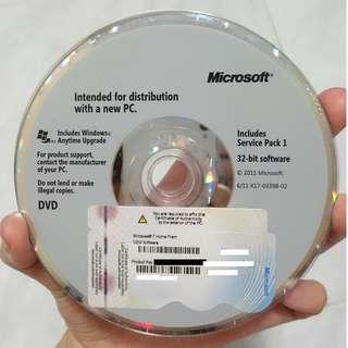 Microsoft Windows 7 Home Prem 32 bit OEM software - authentic