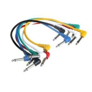 Set of 6pcs Colorful Guitar/Bass Patch Cables Angled for Guitar/bass Effect Pedals