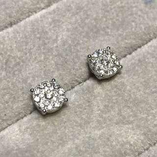 卡裝效果9圍1鑽石耳環💎18k白金天然鑽石耳釘✨推薦優惠價生日禮物紀念日禮物推薦
