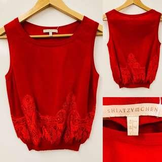 Shiatzy Chen red with lace vest size F40