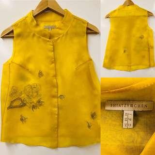 Shiatzy Chen yellow with emborderies vest size F38