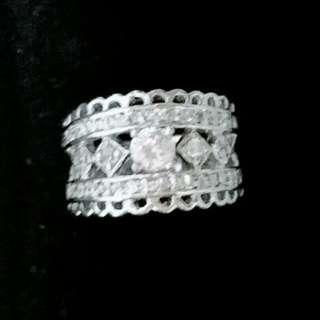 星光 純銀包白金閃石戒指