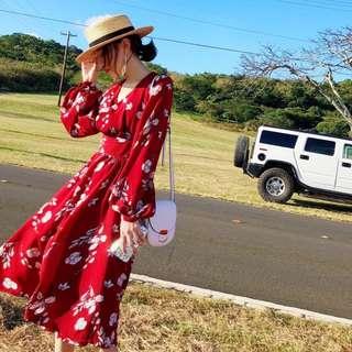 復古碎花款度假連身裙洋裝