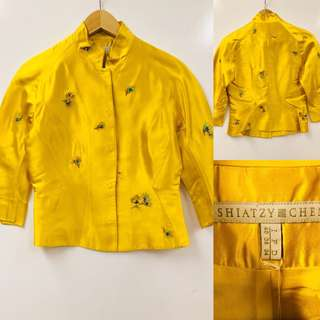 Shiatzy Chen yellow with emborderies coat cardigan size F38