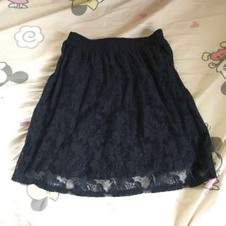 Abercrombie and Fitch navy lace skirt Hollister 喱士半截裙