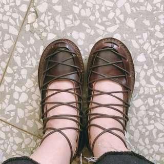 真皮 蟑螂鞋 39腳 綁帶鞋 真牛皮鞋