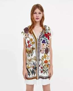 European and American wind pressure plastic printing flowers deep v collar loose short-sleeved dress