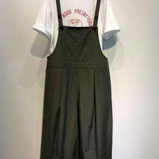 西裝斜紋光澤挺版布料打折吊帶褲