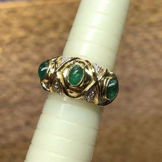 18kt diamond emerald ring