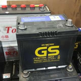 (二手中古電池) GS 75D23L-免保養汽車電池 數值漂亮,品項優