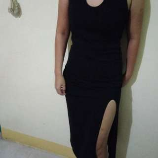 Simple Long Black Slit Dress