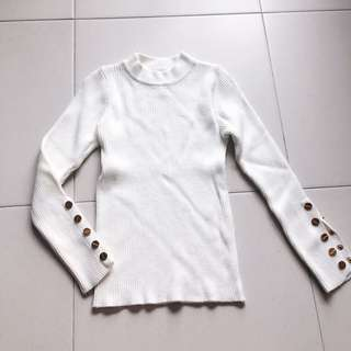 Instock! - BNWT White Knitted Ribbed High Neck / Mock Neck Long Sleeve Button Down Top